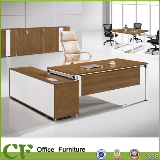 Executive Desk With Long Side Cabinet