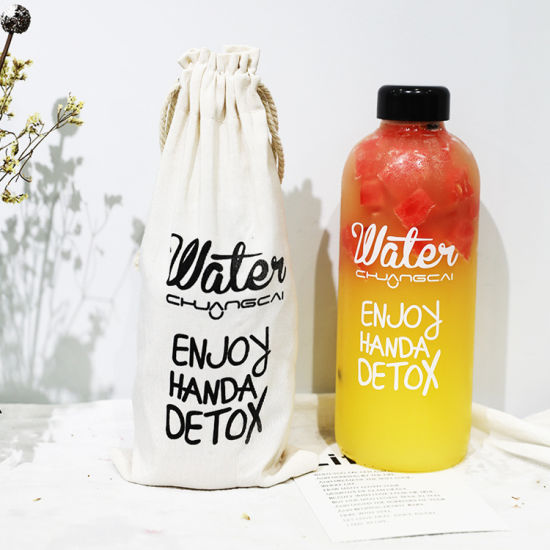 Best Seller Waterbottle Glass 1000ml Round Private Label Glass Water Bottle for Beverage Milk Travel Juice Mug for Outdoor