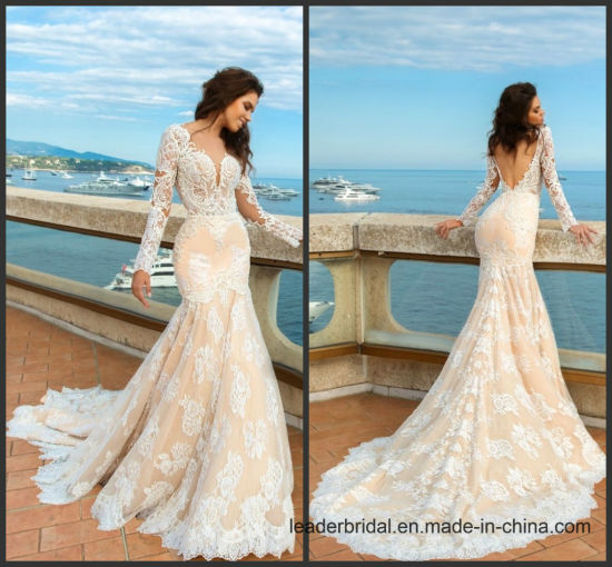 China Mermaid Bridal Wedding Gowns Cream Sleeves Wedding Dress H063 ...