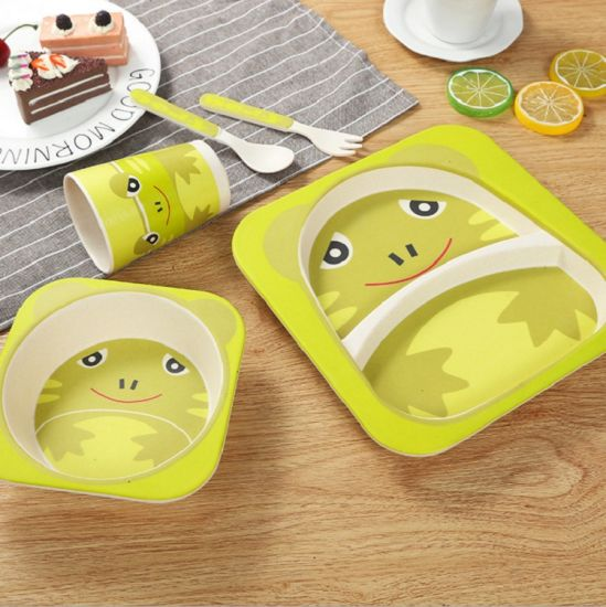 Eco Friendly Melamine Tableware Bamboo Fiber Kids Dinnerware Set : bamboo tableware - pezcame.com