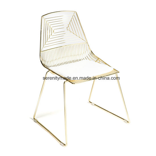 china cafe furniture wholesale stacking steel gold styling dining