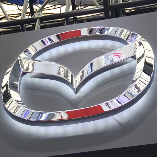 Auto Showroom Advertising Chrome Acrylic Wall Mounted LED Lighting Car Sign