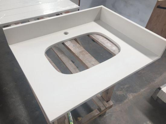 China Pure White Quartz P028 Countetop Kitchen Countertop Worktop