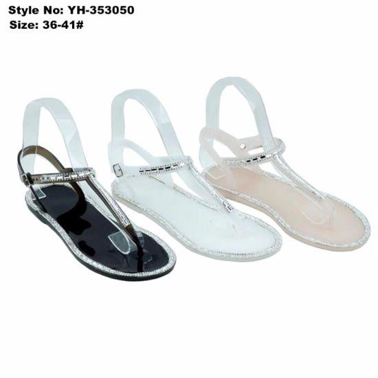 a533da3a7b43 China Ladies Flat Clip Toe Black White PVC Sandals with Rhinestone ...