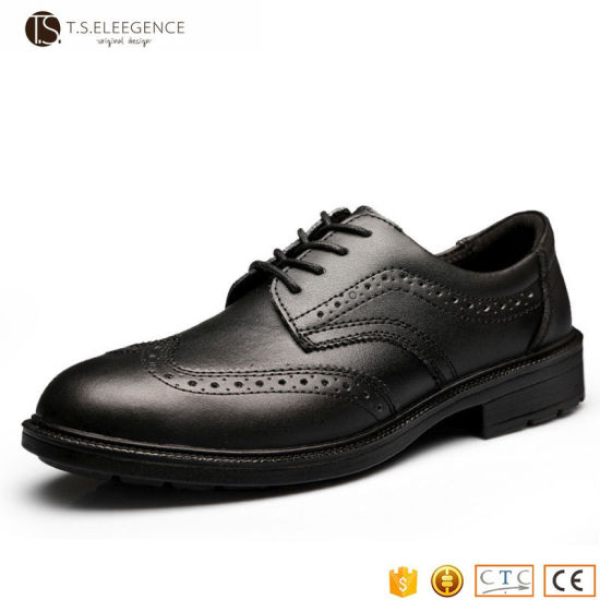 Men S Black Leather Steel Toe Insole Injected Office Dress Safety Shoes