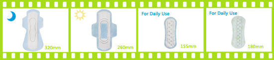 Day Use Lady Ultra Thin Wingless Menstrual Pad with Blue Chips Sanitary Towels Luxury Brand Pads pictures & photos