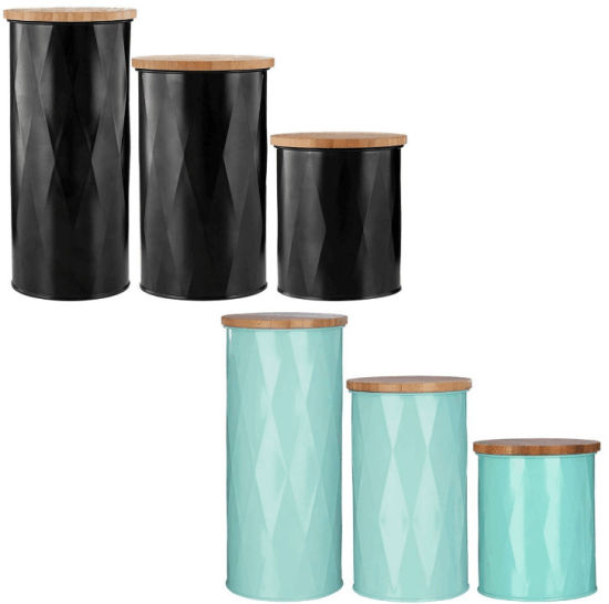3 PCS Metal Canister with Bamboo Lid pictures & photos