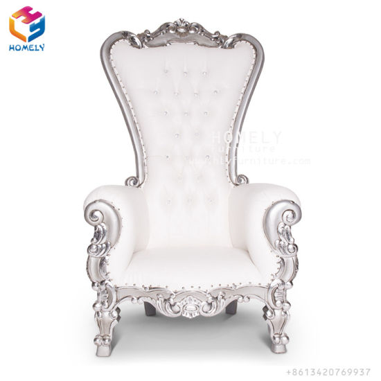 Luxury White Gold Wedding High Back King Throne Chair