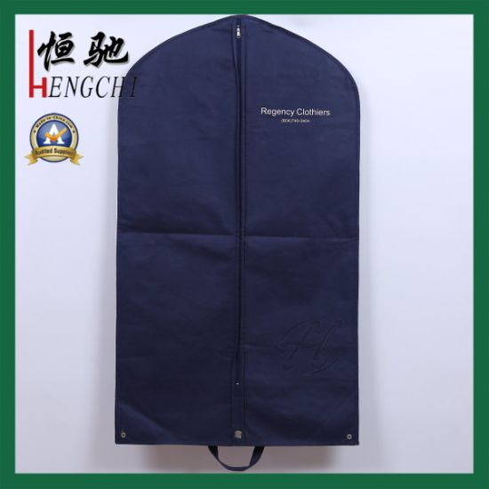 Home Storage Fabric Suit Garment Bag with Foldable Button pictures & photos