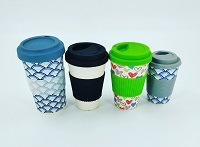 Biodegradable and Printed Bamboo Fiber Coffee Cup with Silicone Lid and Sleeve (YK-BC4131) pictures & photos