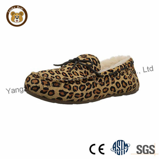 fashion Hot Leopard Soft Fur Cozy Ladies Casual Slippers pictures & photos