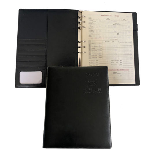 2019 Hardcover A4 PU Leather Notebook Diary with Button Closure