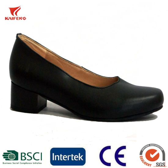 Genuine Leather Lady Officer Shoes High Heel