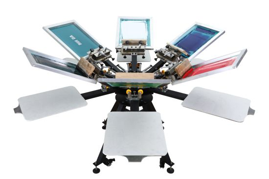 High Quality Manual T Shirt 6 Color 6 Station Screen Printer with Micro Registration pictures & photos