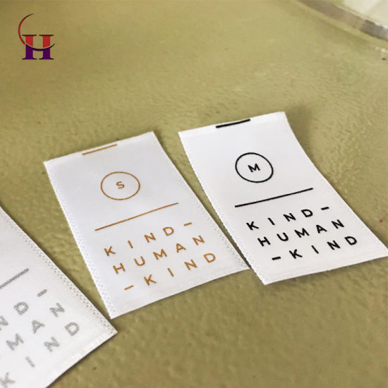 100% Polyester Printed Size Care Labels for Textile