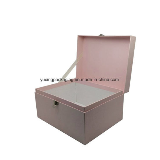 Pink Fancy Fashion Cardboard Handles Suitcase Shaped Paper Box