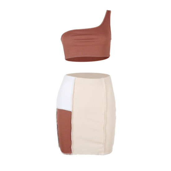 Women's One-Shoulder Sleeveless Top Stitching Contrast Color Folds Bodycon Skirt Two Piece Sets