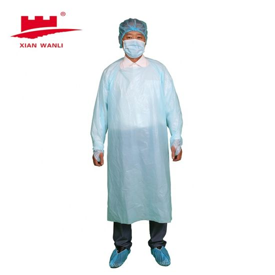 Disposable Plastic Surgical Medical Waterproof PE/CPE Gown in Blue/White with Thumb Loop