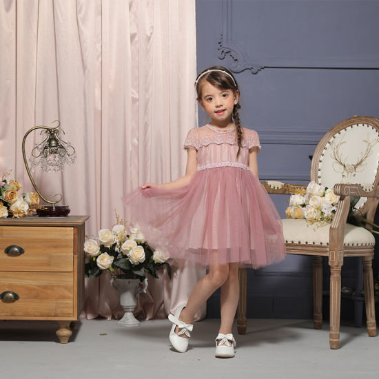 Fashion Blue Kids Clothes Baby Girl Occasion Dress for Holiday Wear