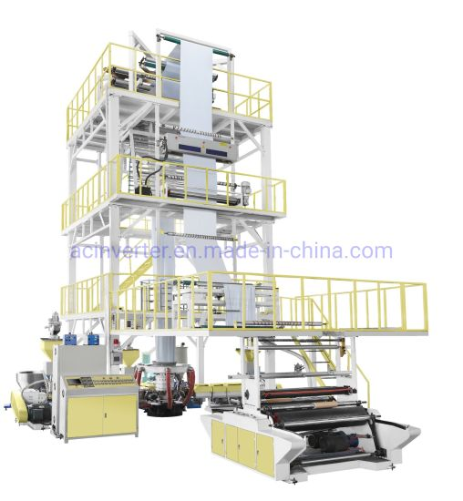High Quality ABC Multi Layer Three Layer Common-Extrusion Rotary Die Film Blowing Machine with PE Mldpe HDPE LLDPE LDPE From Factory