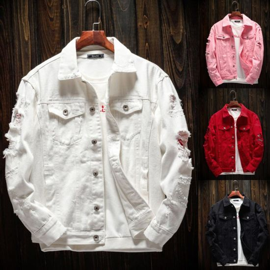 Trendy Fashion Ripped Denim Male Streetwear Jackets Cowboy Coats