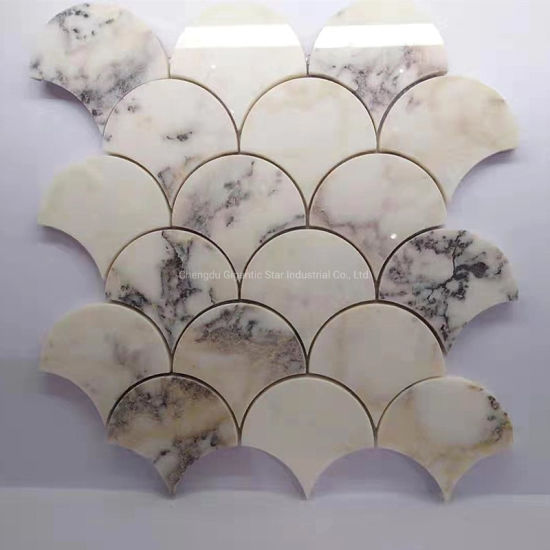 China Bianco Carrara East White Jade Marble Gold Grey Calcite Large Fish Scale Mosaic Tile For Floor Wall Bathroom China Marble Mosaic Stone Mosaic