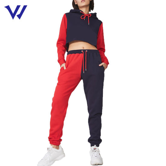 Cropped Tracksuit 100% Cotton 2 Piece Jogging Suits Women