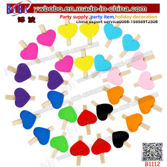 Colorful Wooden Clips Natural Wooden Craft Photo Decorative Clips Wooden Clip Clothes School Stationery (B1112)