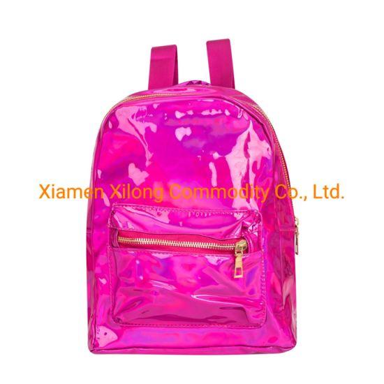 Purple Custom Waterproof Mini Laser PU School Bookbag Travel Casual Daypack Holographic Backpack Bag for Women Children