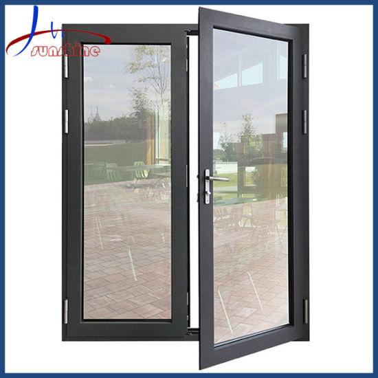 Grey Color Powder Coating Aluminum French Door Double Glazed Swing Doors