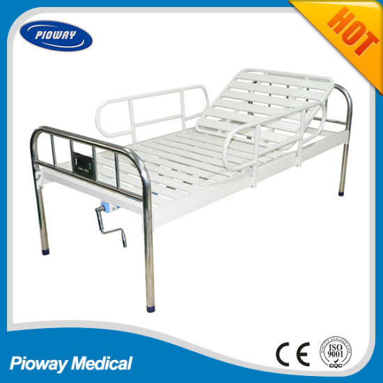 One Crank Stainless Steel Head and Foot, with Steel Guardrail Hospital Bed (PW-C05)