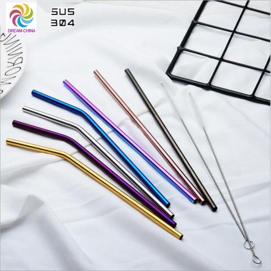 215mm/267mm Stainless Steel Thicker Round Drinking Straw, Silver, Golden, Black, Purple