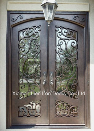 China Top Selling Wrought Iron Double Glazed Front Door Anti Rust