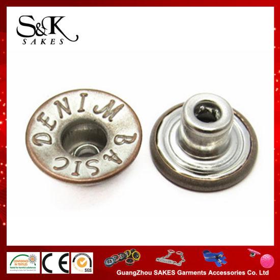 Antique Brass Metal Denim 4 Hole Buttons 15mm