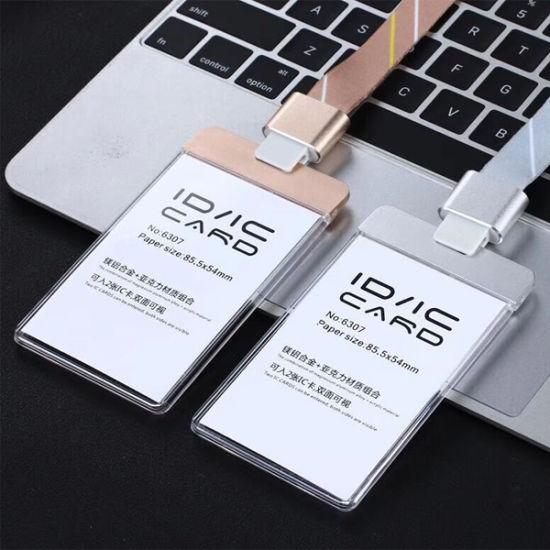 2018 New Aluminium Alloy RFID ID Card Holder Employee Worker with Lanyard