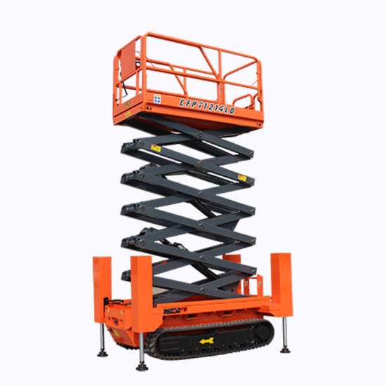 Electric Track Crawler Scissor Lift with Automatic Leveling Support Legs Hot Sale Mobile Lifting Platform