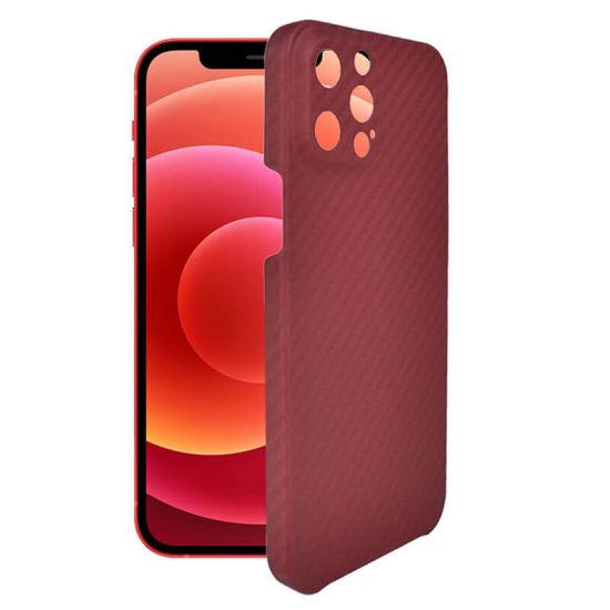 Red Color Slim Design Matte Finish Aramid Fiber Phone Case for iPhone 12 PRO Max