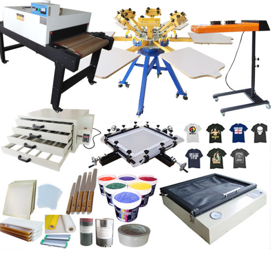 Manual Rotary 6 Color 6 Station Diy T Shirt Silk Screen Printing Equipment Full Sets