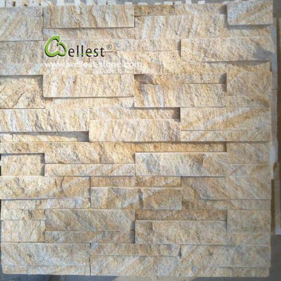 China Wood Vein Yellow Sandstone Cladding Ledgestone Tile Sandstone