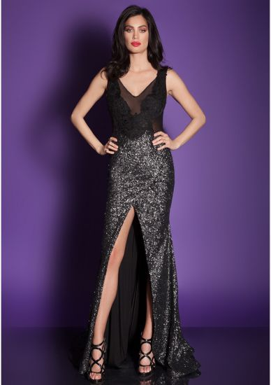 Sequin See Though Lace High Split Mermaid Evening Dress Cocktail Dress