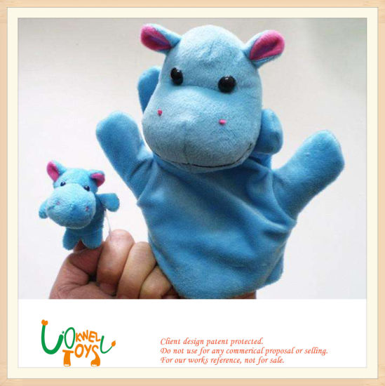 Soft Plush Stuffed Zoo Animal Hippo Finger Hand Puppet Doll Toy