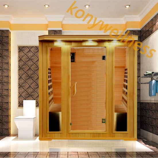 Big Far Infrared Dry Sauna Room Made of Hemlock with Ceramic Heating Rod for Indoor Use