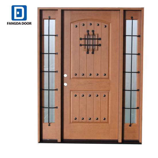China Fangda Clical Rustic Mahogany Type Fibregl Exterior Doors