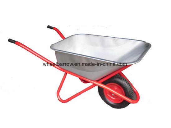 Farm Tools Handtruck with Zinc Plated Tray Wheelbarrow (WB6212)