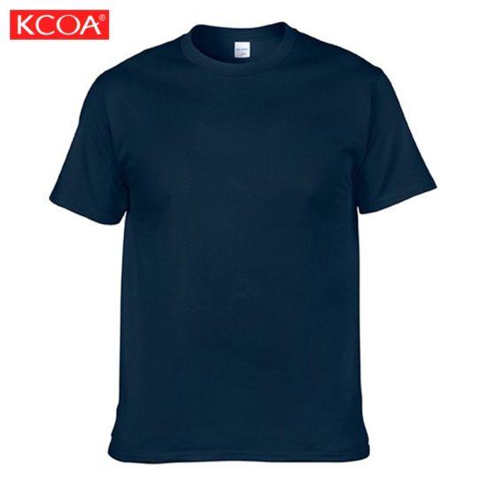 China Cheap Custom Printed Plain Navy Cotton Men T Shirt