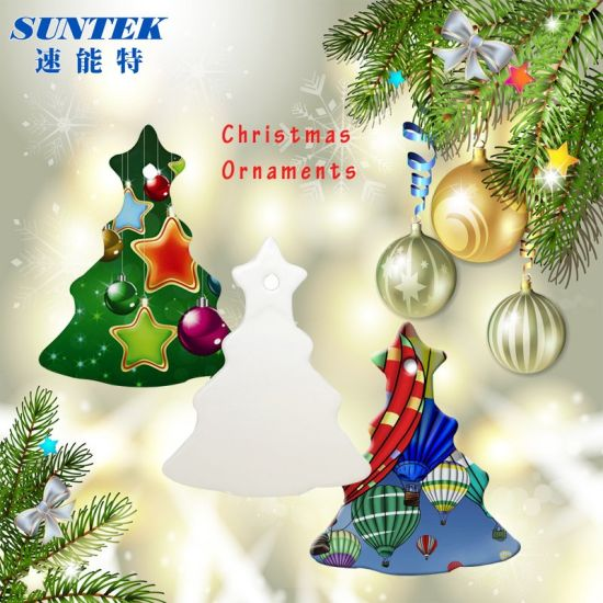 wholesale christmas decorations sublimation ceramic blank pendantornament