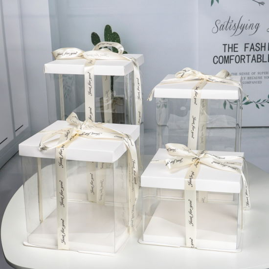 Clear Plastic Cake Boxes Bakery Packaging Carriers with Pre-Folded Lid Base Baking Cookie Display Pack Carry Tall Layer Bday Gift Box