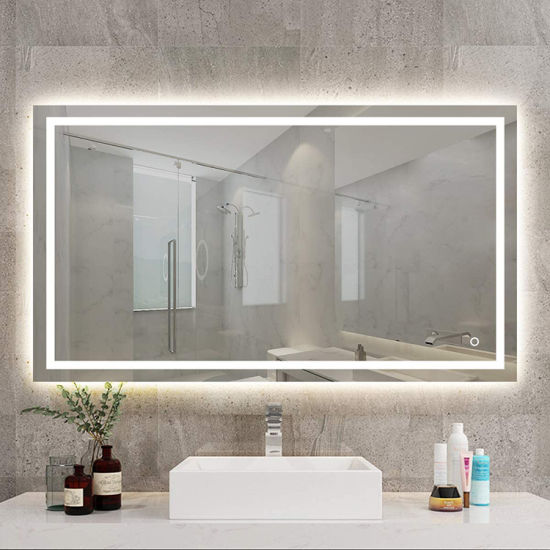 Luxury Hotel Wholesale Wall Mounted Frameless LED Lighted Mirror Bathroom Hanging