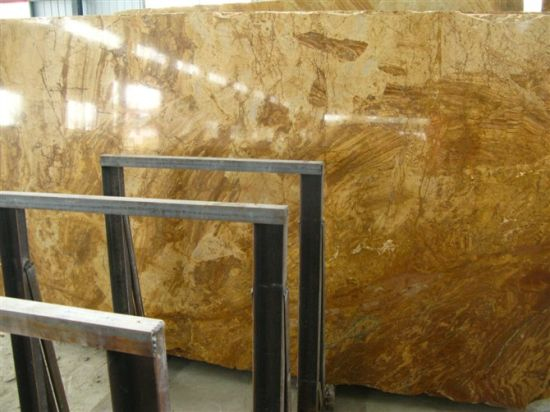 Natural Polished Copper Yellow Marble Slabs&Tiles for Luxury Decoration pictures & photos