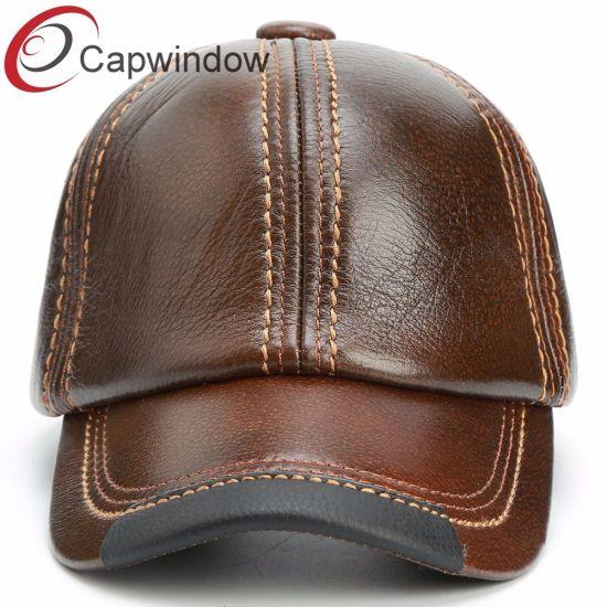 c15addb30c26b China No Logo Genuine Leather Baseball Cap with Metal Buckle - China ...